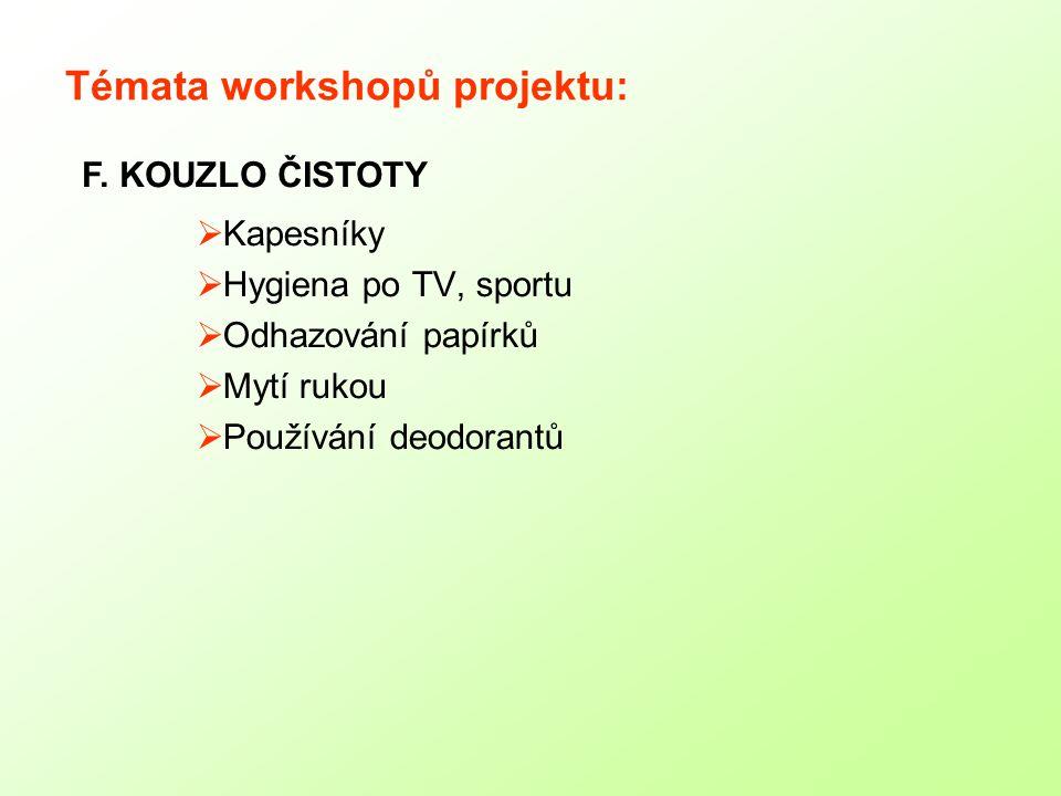 Témata workshopů projektu: