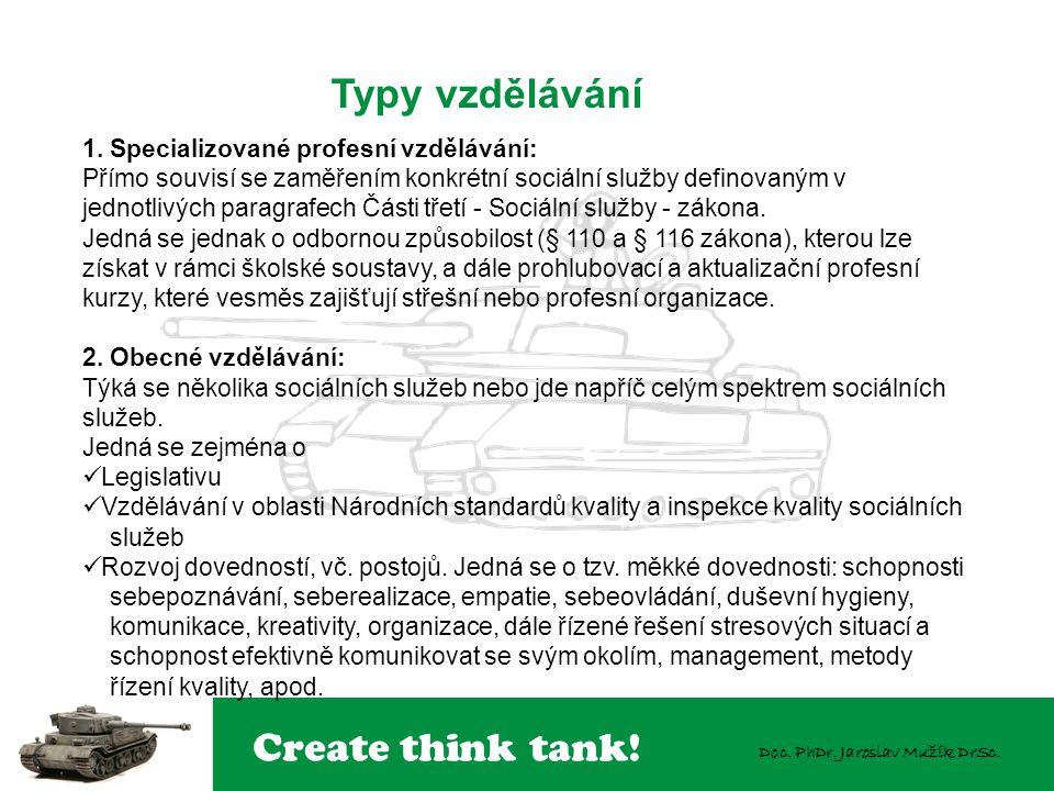 Typy vzdělávání 1. Specializované profesní vzdělávání: