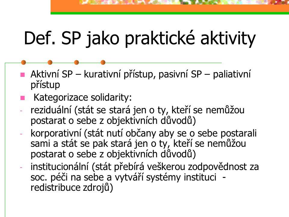 Def. SP jako praktické aktivity