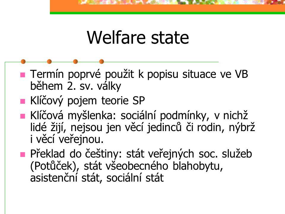 Welfare state Termín poprvé použit k popisu situace ve VB během 2. sv. války. Klíčový pojem teorie SP.