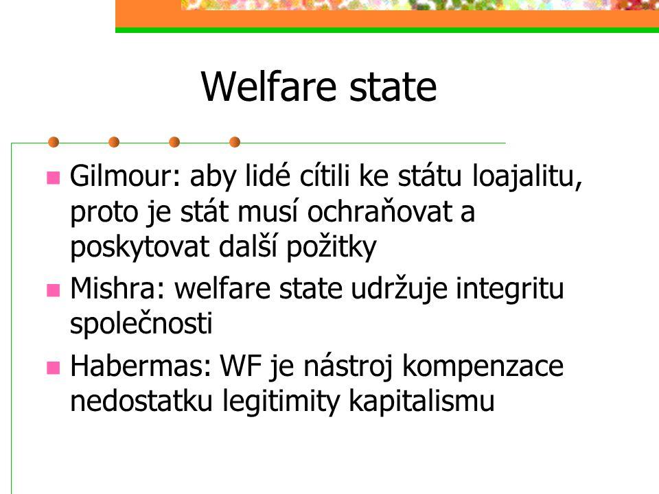 Welfare state Gilmour: aby lidé cítili ke státu loajalitu, proto je stát musí ochraňovat a poskytovat další požitky.