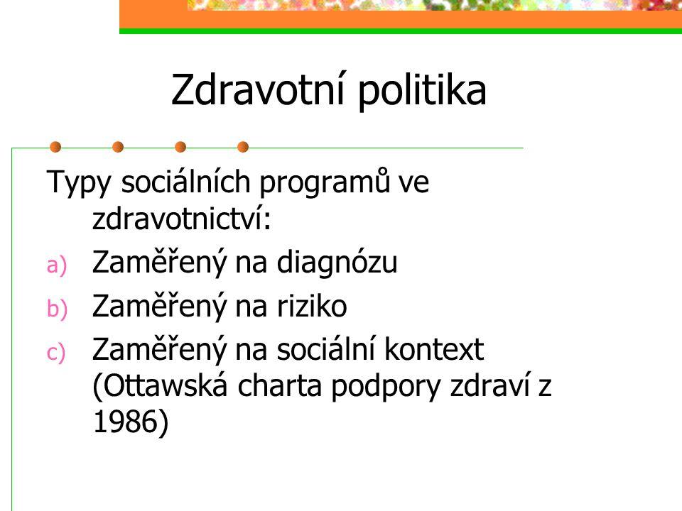 Zdravotní politika Typy sociálních programů ve zdravotnictví: