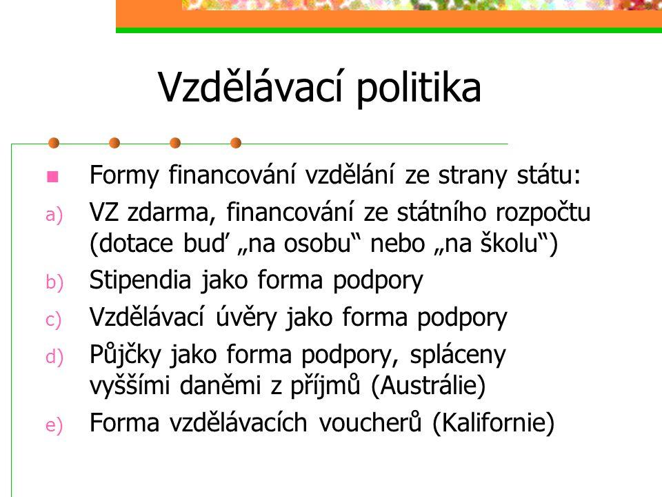Vzdělávací politika Formy financování vzdělání ze strany státu: