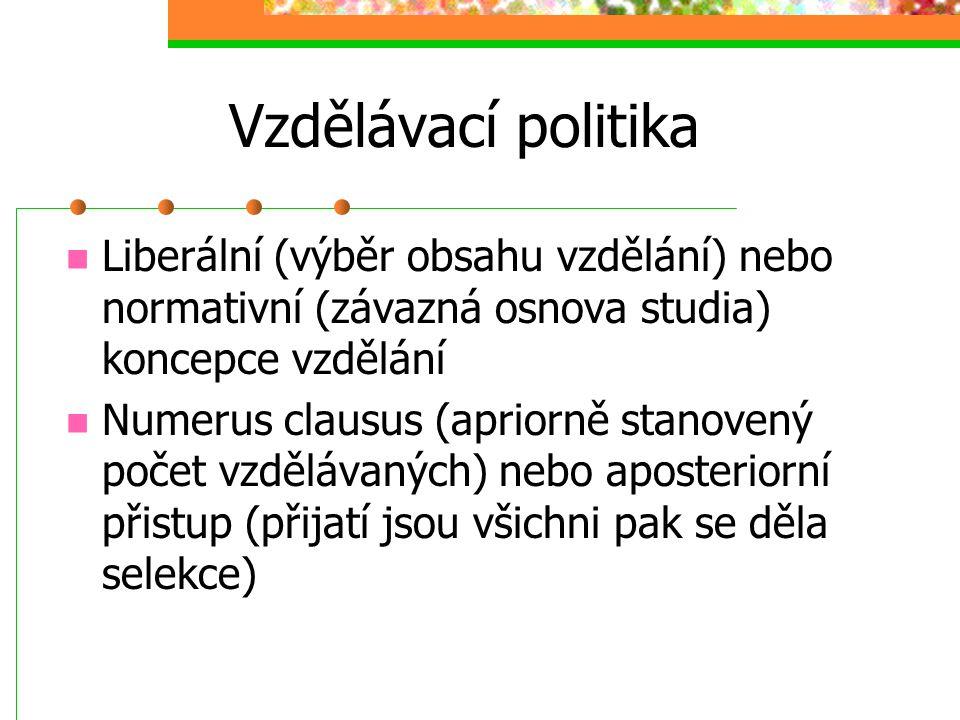 Vzdělávací politika Liberální (výběr obsahu vzdělání) nebo normativní (závazná osnova studia) koncepce vzdělání.