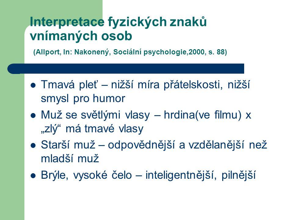 Interpretace fyzických znaků vnímaných osob (Allport, In: Nakonený, Sociální psychologie,2000, s. 88)