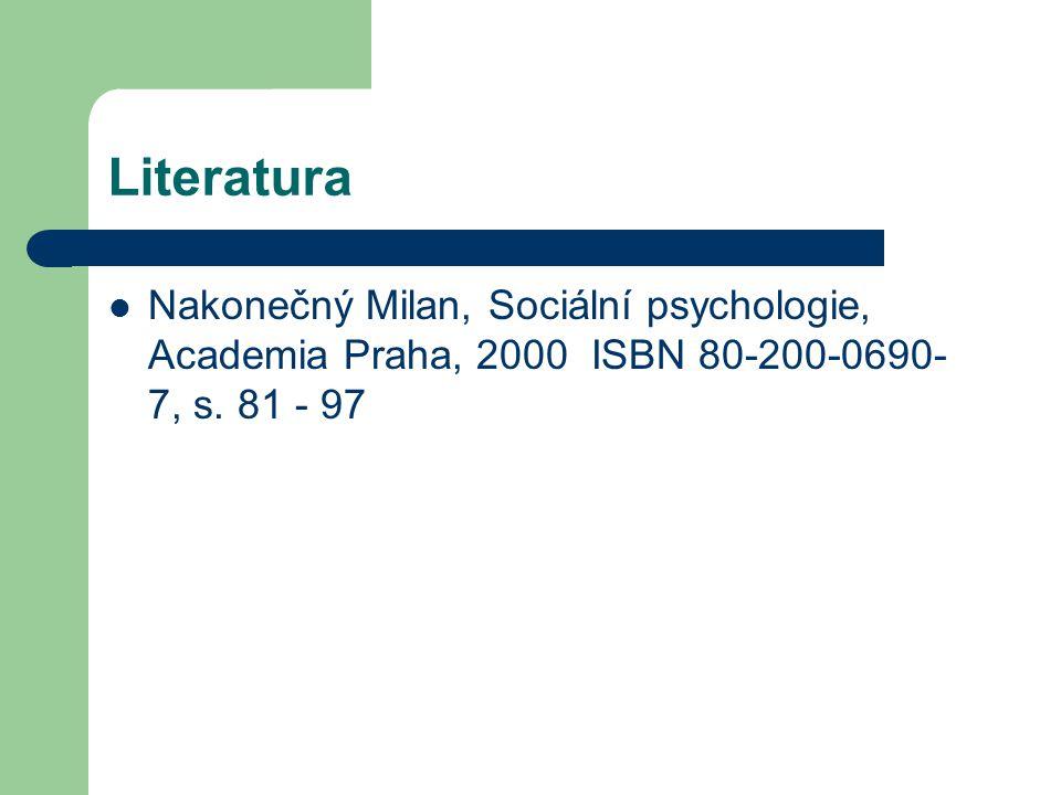 Literatura Nakonečný Milan, Sociální psychologie, Academia Praha, 2000 ISBN 80-200-0690-7, s.