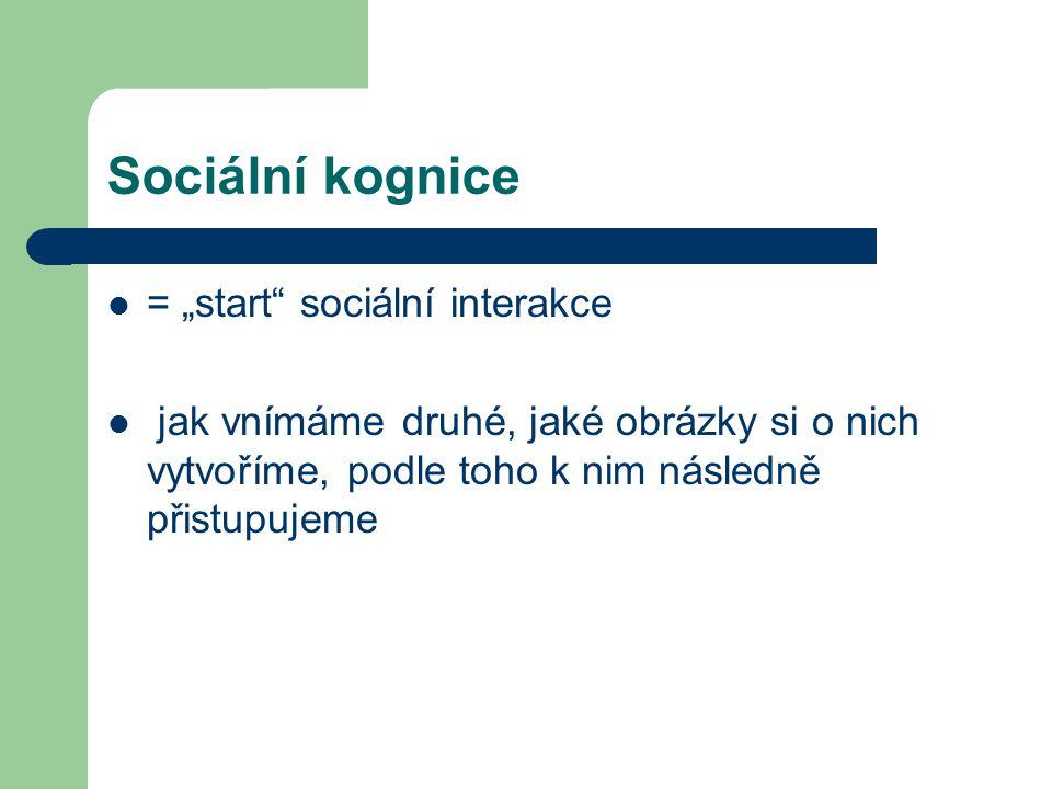 """Sociální kognice = """"start sociální interakce"""