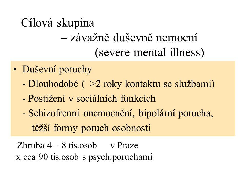 Cílová skupina – závažně duševně nemocní (severe mental illness)