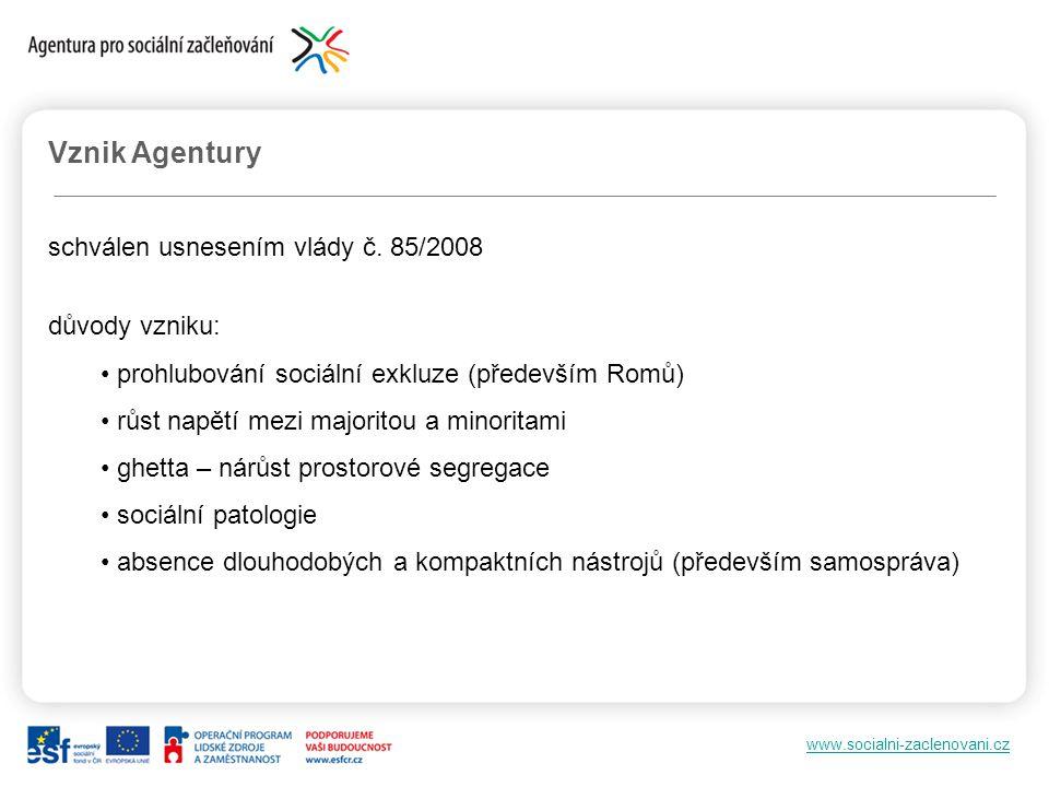 Vznik Agentury schválen usnesením vlády č. 85/2008 důvody vzniku: