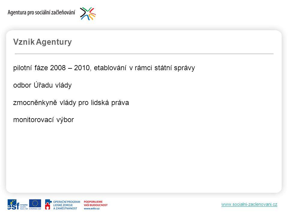 Vznik Agentury pilotní fáze 2008 – 2010, etablování v rámci státní správy. odbor Úřadu vlády. zmocněnkyně vlády pro lidská práva.