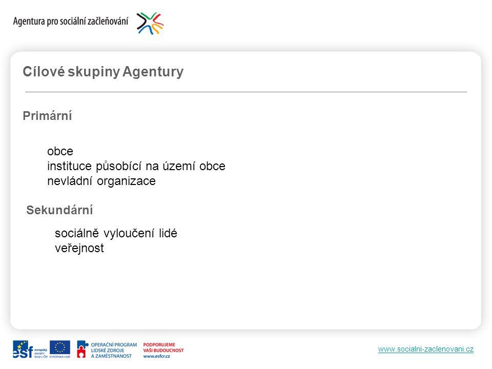 Cílové skupiny Agentury