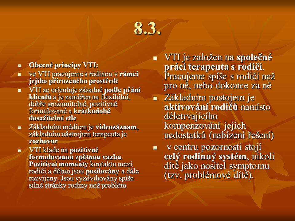 8.3. Obecné principy VTI: ve VTI pracujeme s rodinou v rámci jejího přirozeného prostředí.
