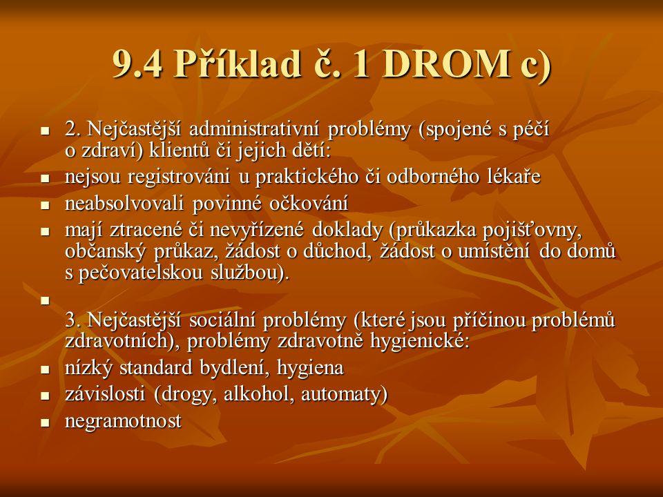 9.4 Příklad č. 1 DROM c) 2. Nejčastější administrativní problémy (spojené s péčí o zdraví) klientů či jejich dětí: