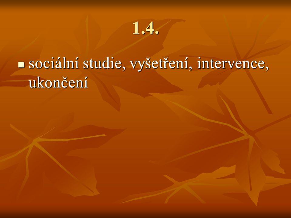 1.4. sociální studie, vyšetření, intervence, ukončení