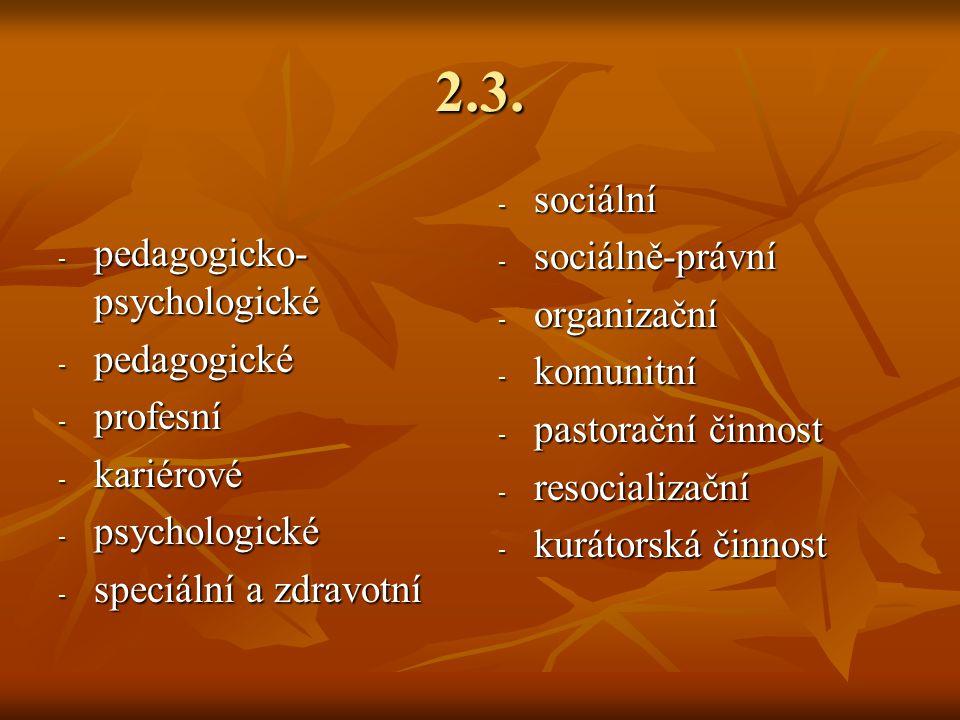 2.3. sociální pedagogicko-psychologické sociálně-právní organizační
