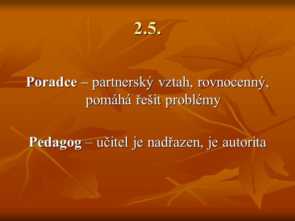 2.5. Poradce – partnerský vztah, rovnocenný, pomáhá řešit problémy