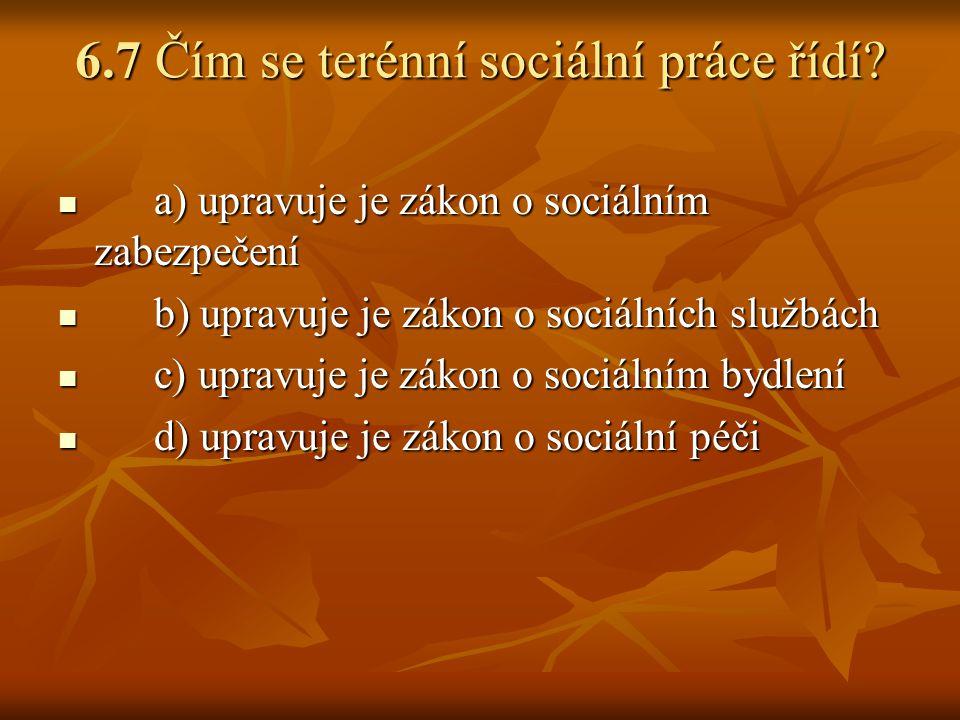 6.7 Čím se terénní sociální práce řídí