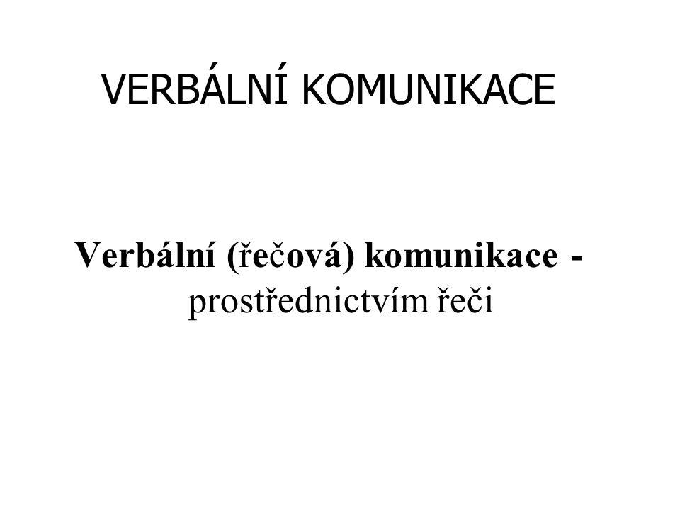 Verbální (řečová) komunikace - prostřednictvím řeči