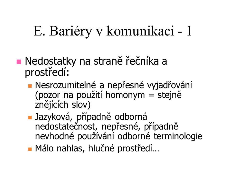 E. Bariéry v komunikaci - 1