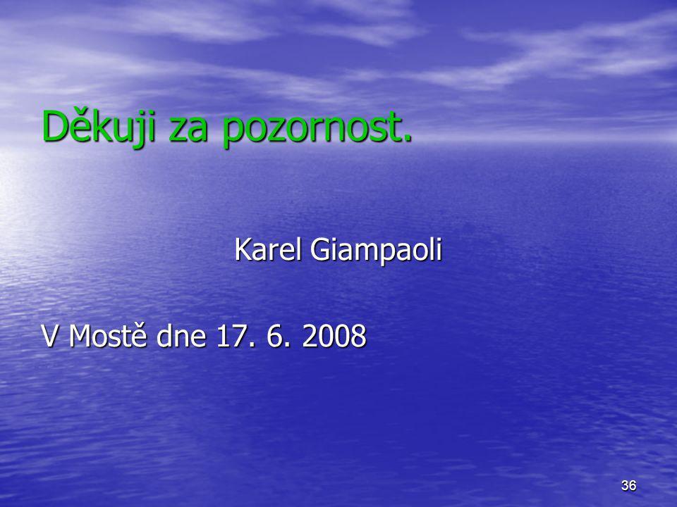 Děkuji za pozornost. Karel Giampaoli V Mostě dne 17. 6. 2008