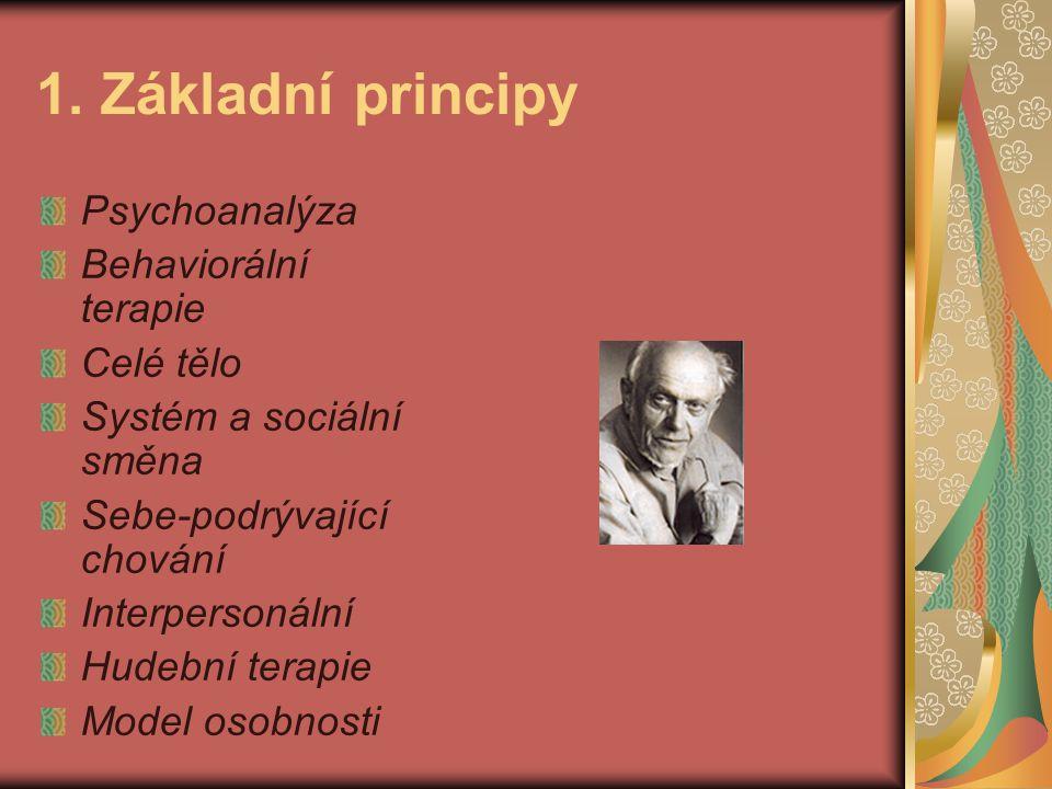 1. Základní principy Psychoanalýza Behaviorální terapie Celé tělo