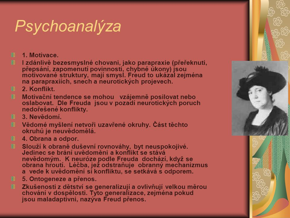 Psychoanalýza 1. Motivace.