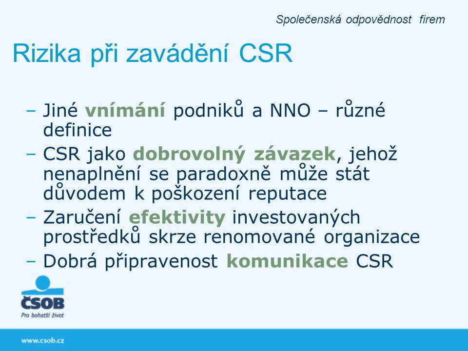 Rizika při zavádění CSR