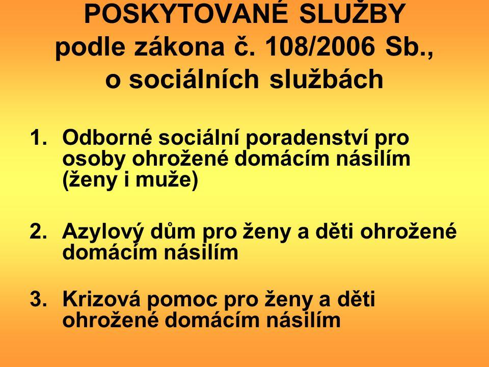 POSKYTOVANÉ SLUŽBY podle zákona č. 108/2006 Sb., o sociálních službách