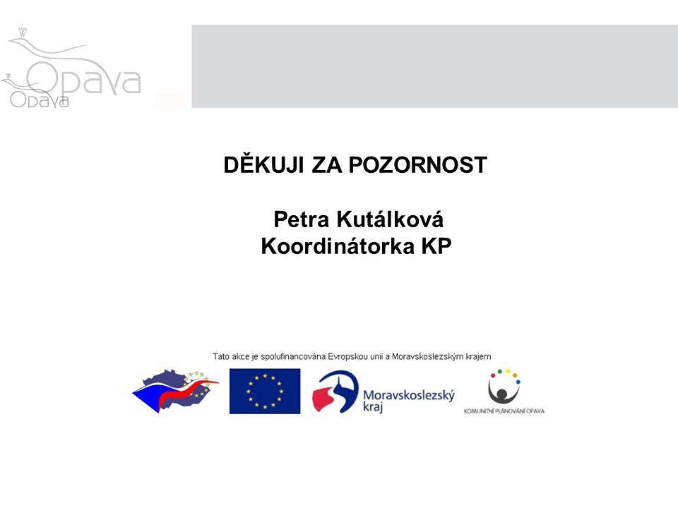 DĚKUJI ZA POZORNOST Petra Kutálková Koordinátorka KP