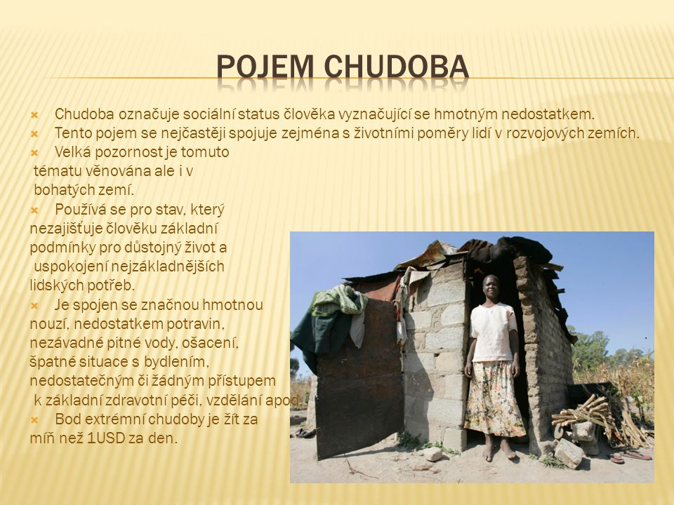 Pojem chudoba Chudoba označuje sociální status člověka vyznačující se hmotným nedostatkem.
