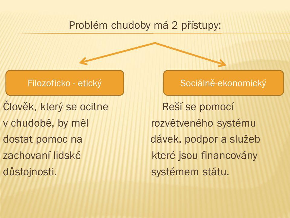 Problém chudoby má 2 přístupy: