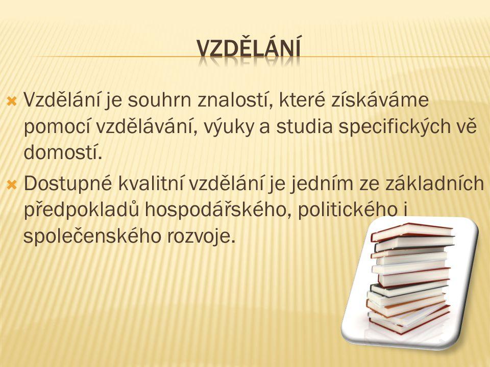 vzdělání Vzdělání je souhrn znalostí, které získáváme pomocí vzdělávání, výuky a studia specifických vědomostí.