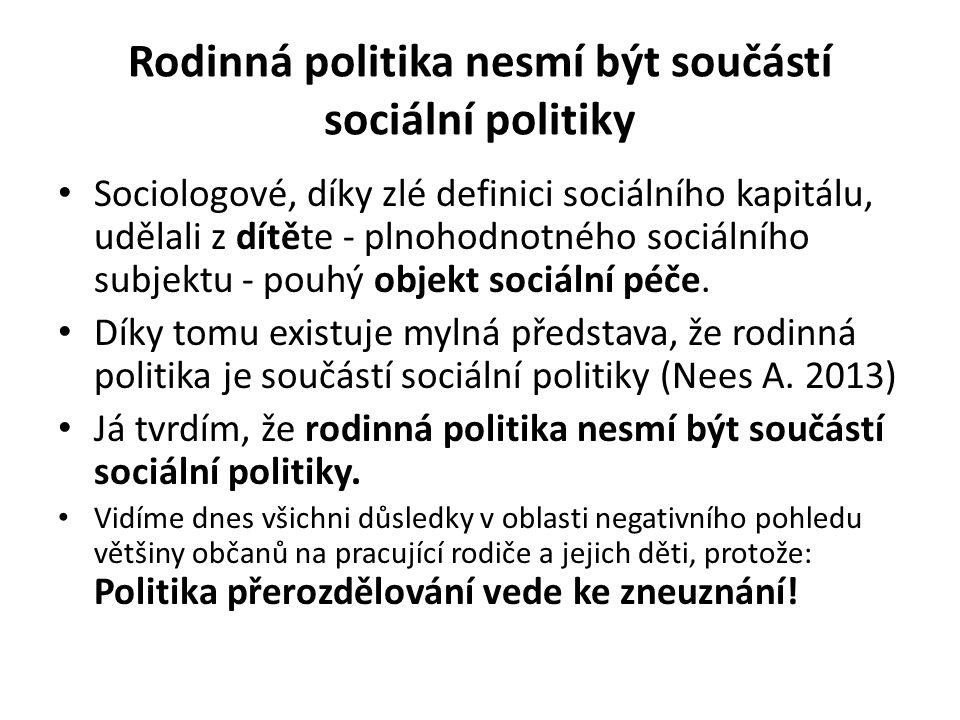 Rodinná politika nesmí být součástí sociální politiky