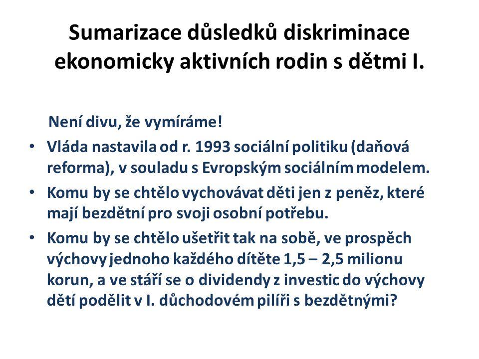 Sumarizace důsledků diskriminace ekonomicky aktivních rodin s dětmi I.