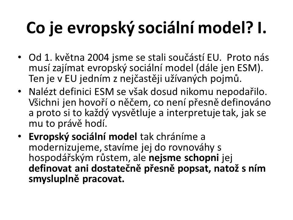Co je evropský sociální model I.