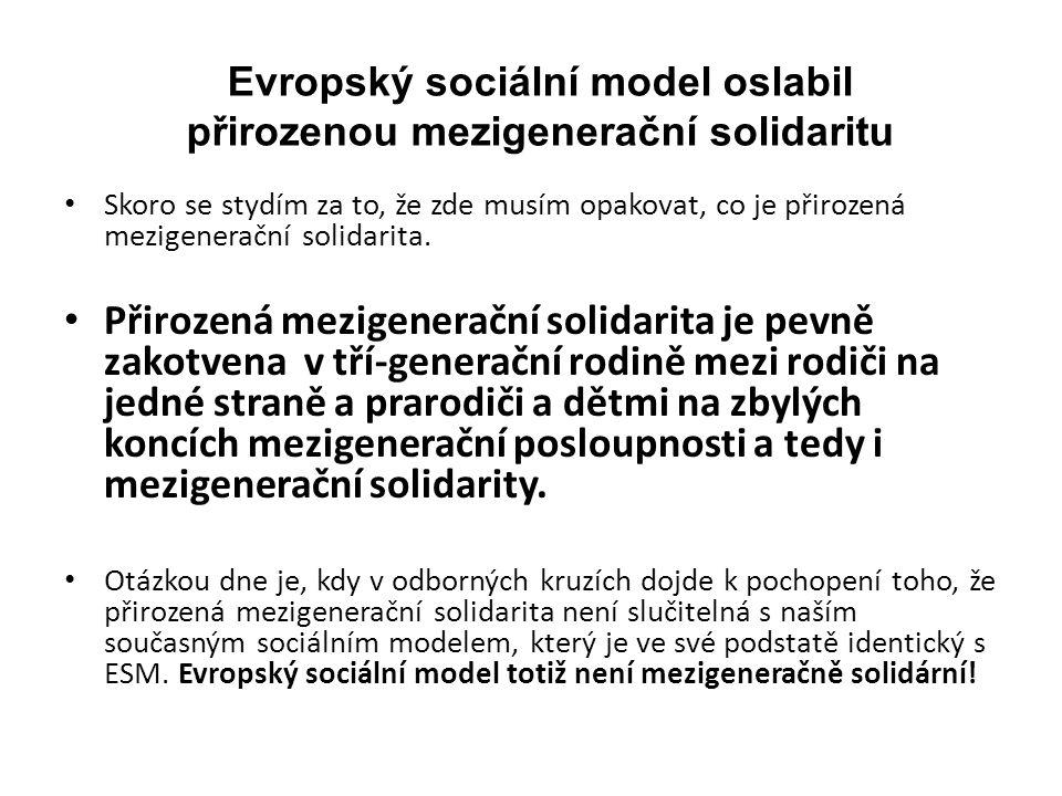 Evropský sociální model oslabil přirozenou mezigenerační solidaritu