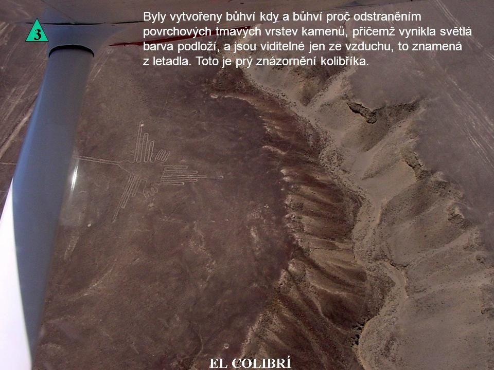 Byly vytvořeny bůhví kdy a bůhví proč odstraněním povrchových tmavých vrstev kamenů, přičemž vynikla světlá barva podloží, a jsou viditelné jen ze vzduchu, to znamená z letadla.