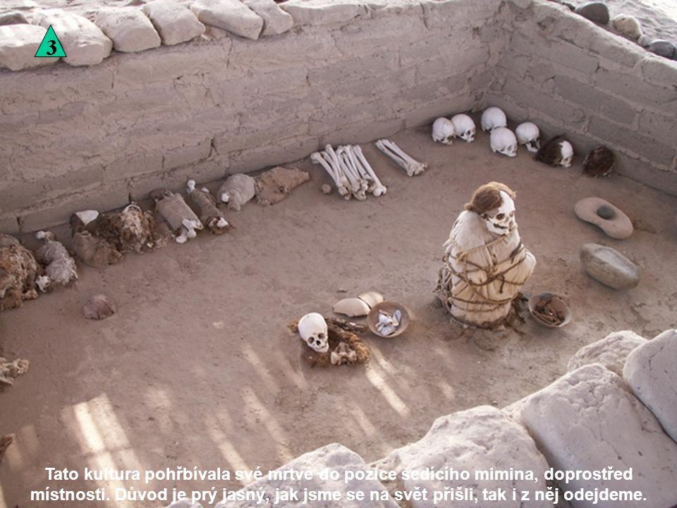 Tato kultura pohřbívala své mrtvé do pozice sedícího mimina, doprostřed místnosti.