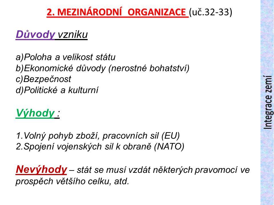 2. MEZINÁRODNÍ ORGANIZACE (uč.32-33)