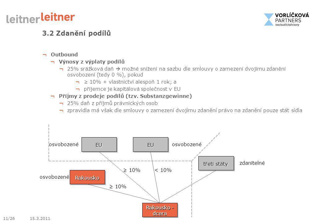 3.2 Zdanění podílů Outbound Výnosy z výplaty podílů