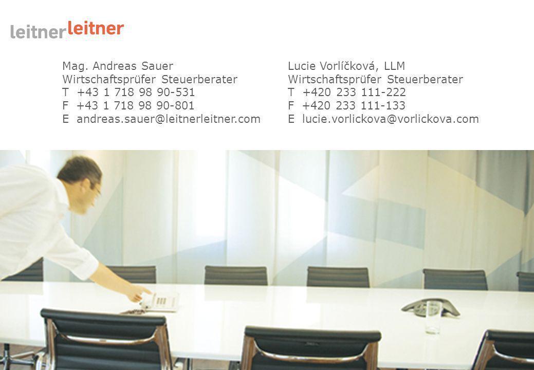 Mag. Andreas Sauer Wirtschaftsprüfer Steuerberater. T +43 1 718 98 90-531. F +43 1 718 98 90-801.