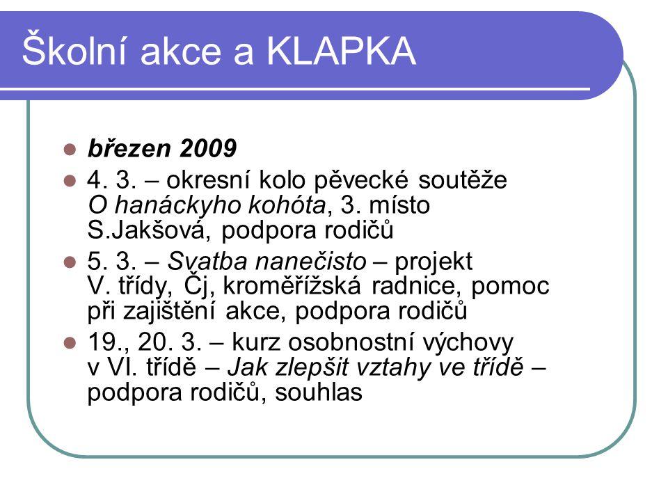 Školní akce a KLAPKA březen 2009