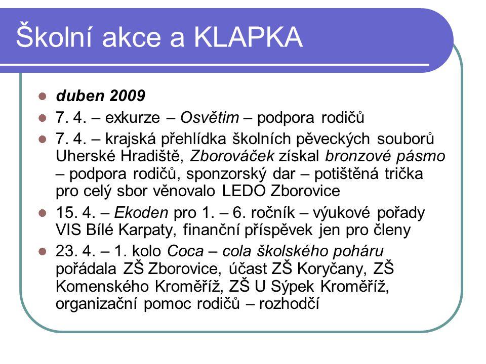 Školní akce a KLAPKA duben 2009