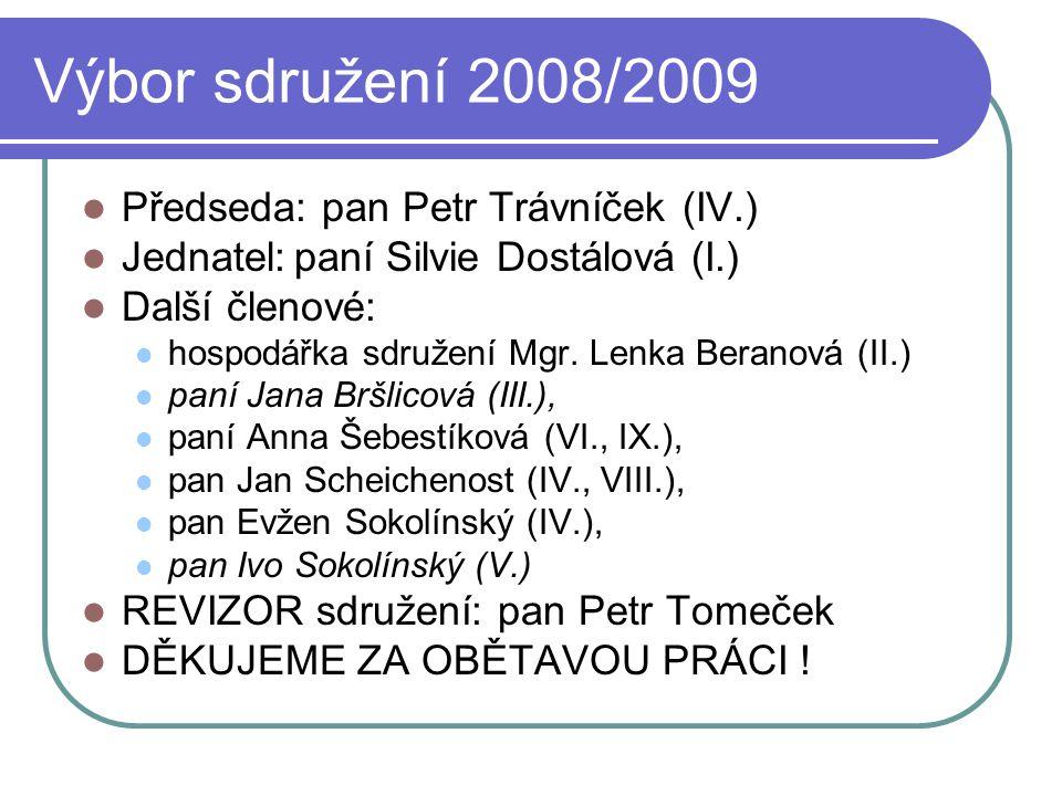 Výbor sdružení 2008/2009 Předseda: pan Petr Trávníček (IV.)