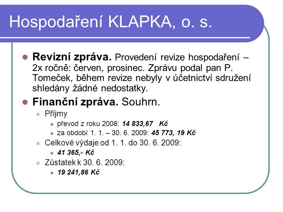 Hospodaření KLAPKA, o. s.