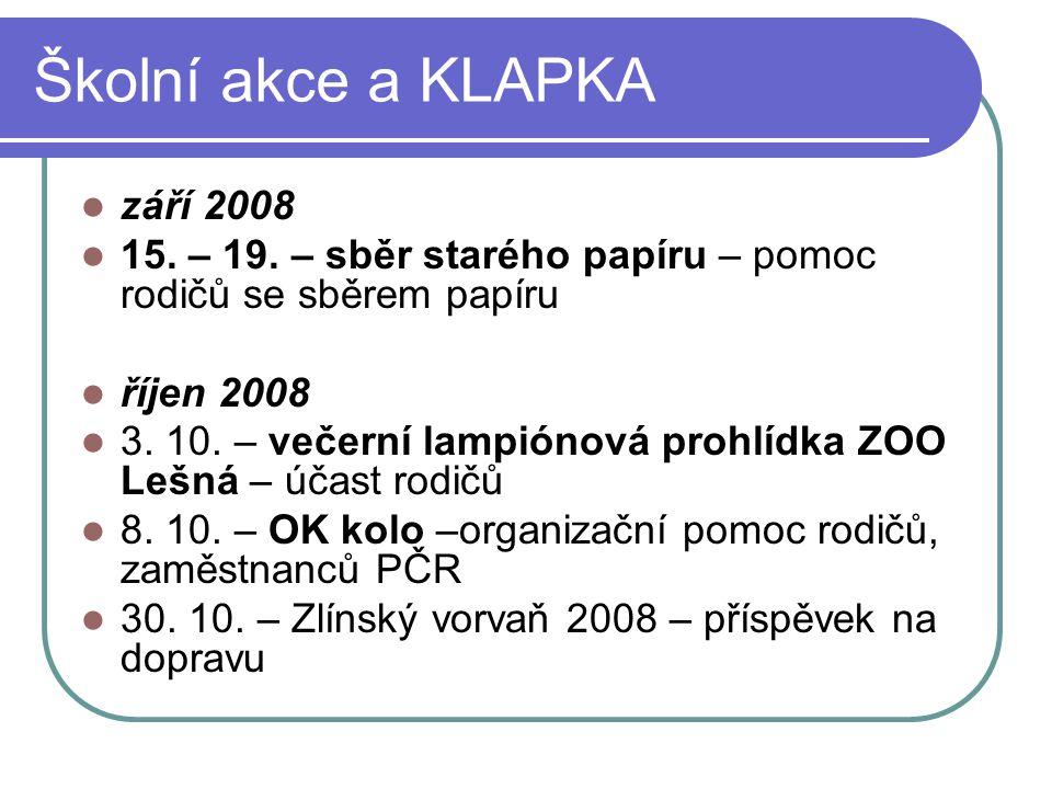 Školní akce a KLAPKA září 2008