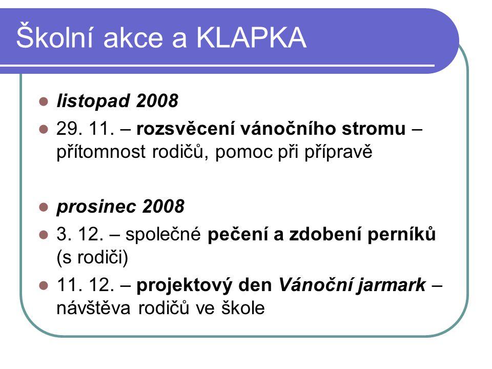 Školní akce a KLAPKA listopad 2008