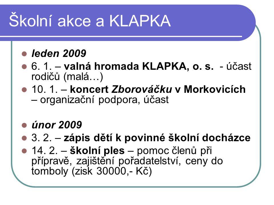Školní akce a KLAPKA leden 2009