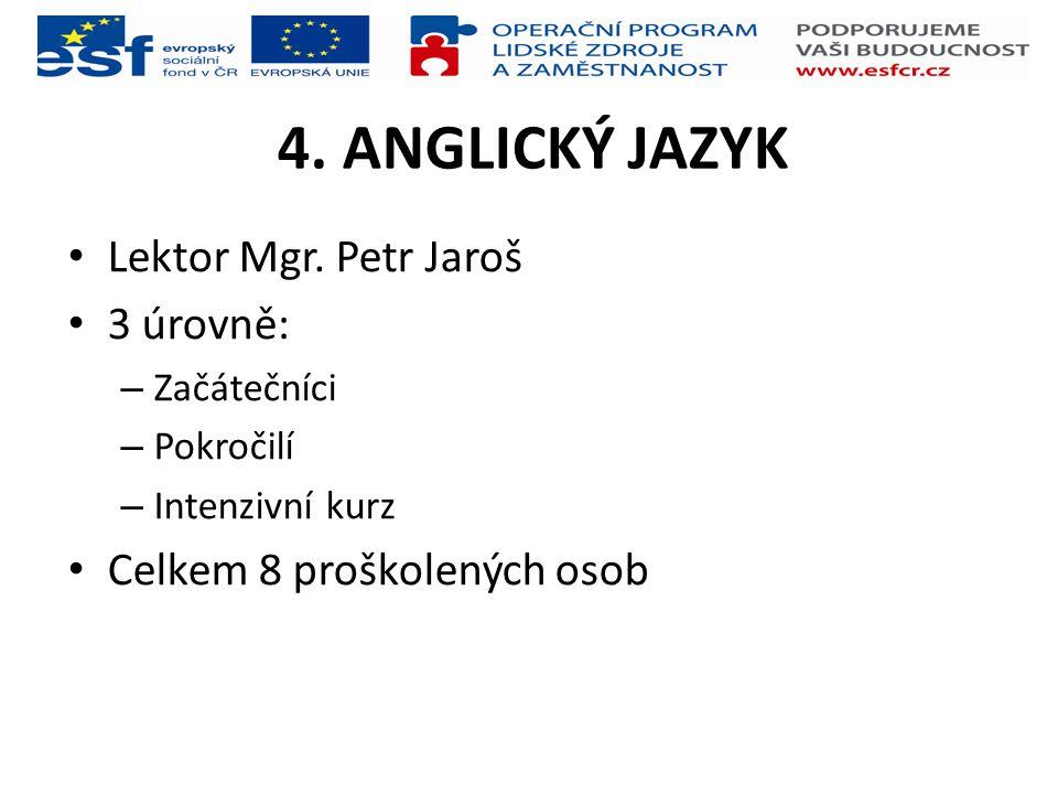 4. ANGLICKÝ JAZYK Lektor Mgr. Petr Jaroš 3 úrovně: