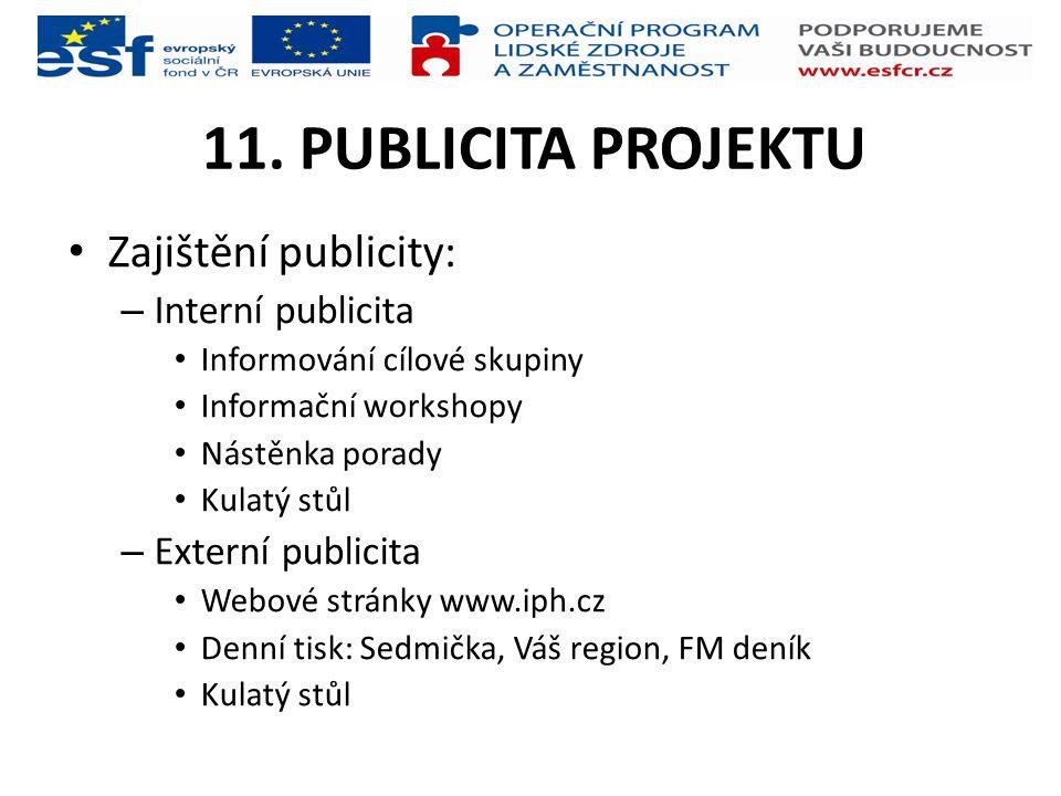 11. PUBLICITA PROJEKTU Zajištění publicity: Interní publicita